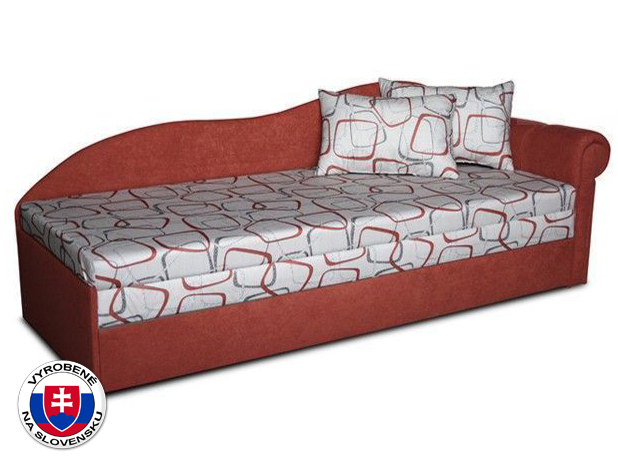 Jednolôžková posteľ (váľanda) 70 cm Luxus II (Tehlová 41 + Dodo 1008) (P)