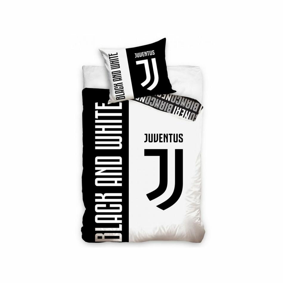 BedTex Bavlnené obliečky FC Juventus Bianco e Neri, 140 x 200 cm,  70 x 90 cm