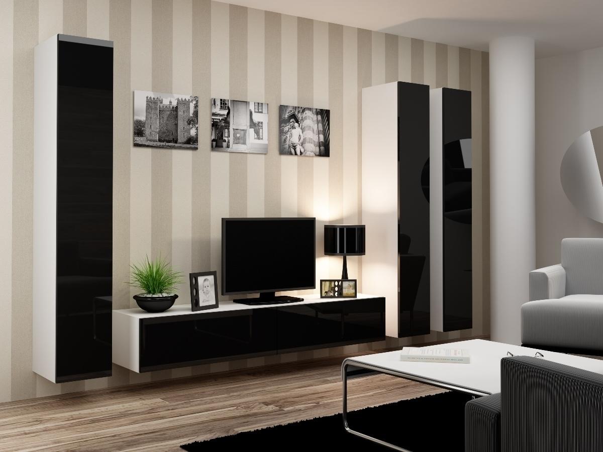 CAMA MEBLE VIGO 1 obývacia stena - biely mat / čierny lesk