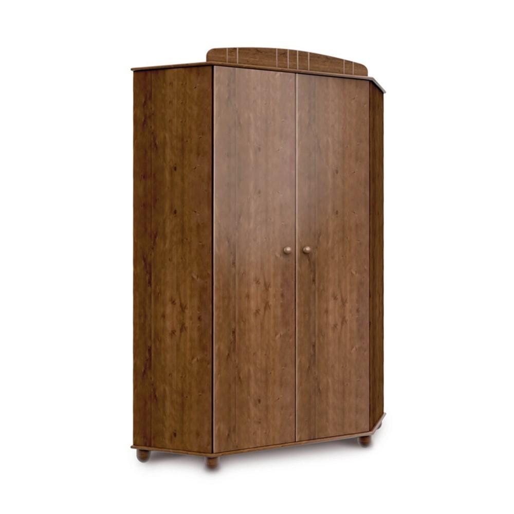 Tmavohnedá rohová šatníková skriňa z borovicového dreva Faktum Tomi