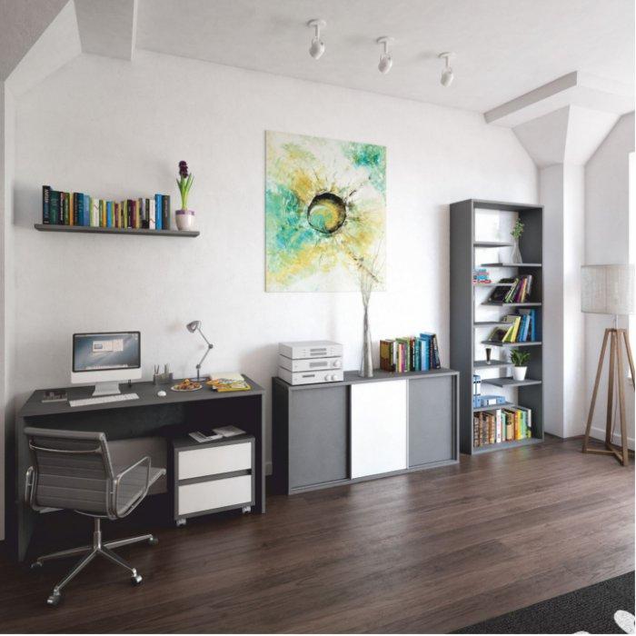 TEMPO KONDELA MARSIE kancelária - grafit / biela