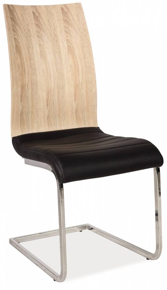 Jedálenská stolička H-791 (ekokoža čierna + lesk vysoký biely)