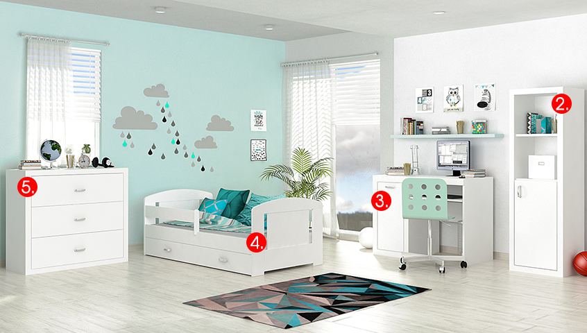 Detská izba FILIP COLOR / so zásuvkou   Farba: Biela / biela