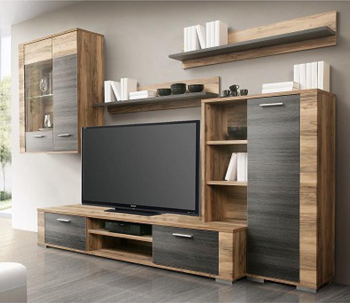 Obývacia stena s LED osvetlením, orech satinový/touchwood/sklo, KOROR