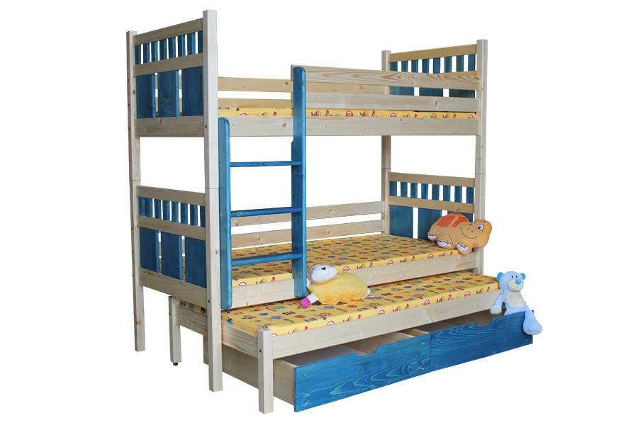Bradop Poschodová posteľ, trojpostel Vašík (základné prevedenie) B408-80x180