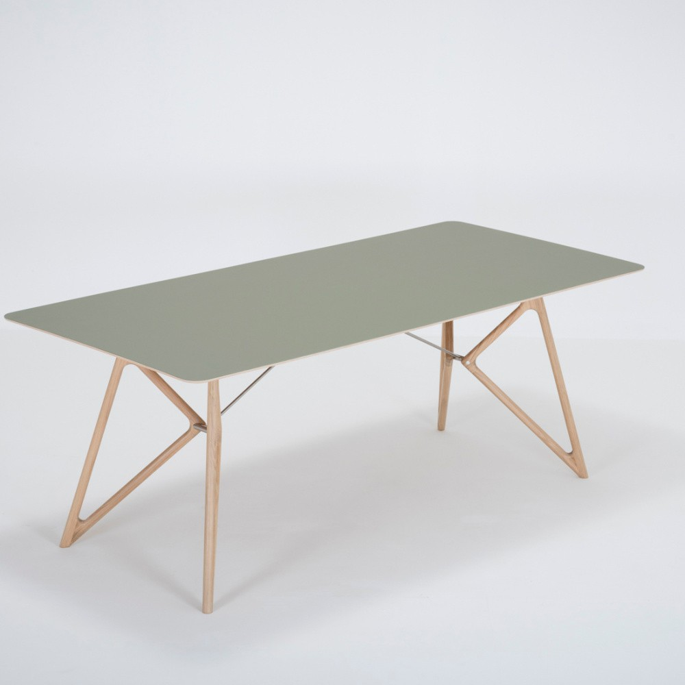 Jedálenský stôl z masívneho dubového dreva so zelenou doskou Gazzda Tink, 200×90cm