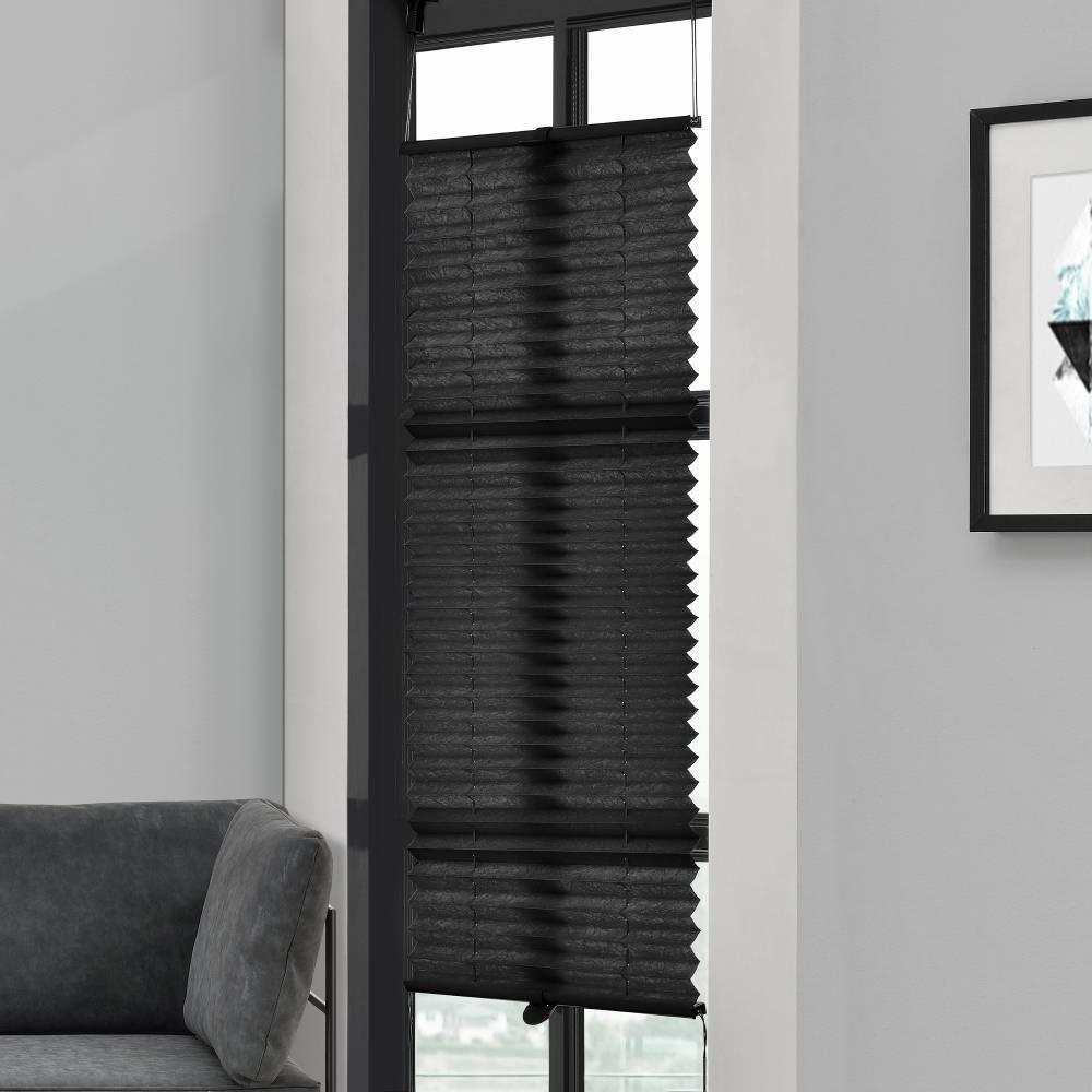 [Neu.haus] Rolety vzor harmonika - 35 x 125 cm - čierna - žalúzie - bez vŕtania, ochrana pred slnkom