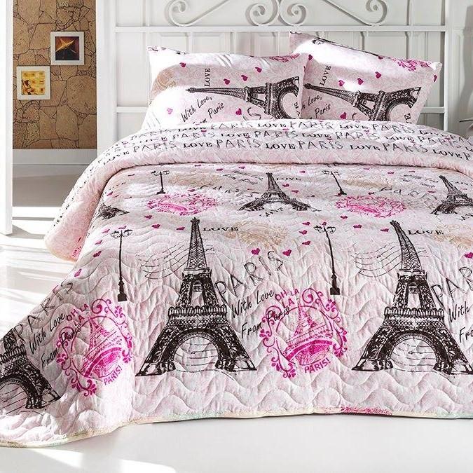 Sada prešívanej prikrývky na posteľ s obliečkami na vankúše From Paris, 200x220cm