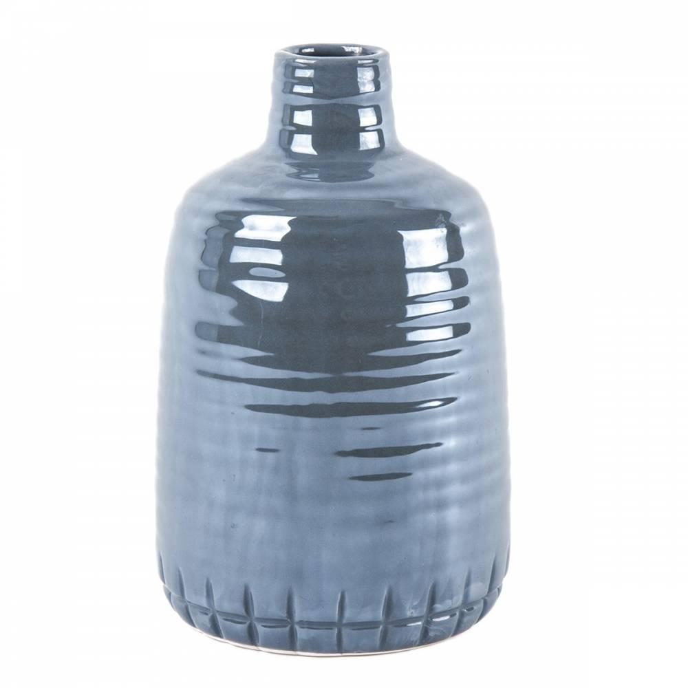 Keramická perleťová váza tmavo sivá, 21 cm