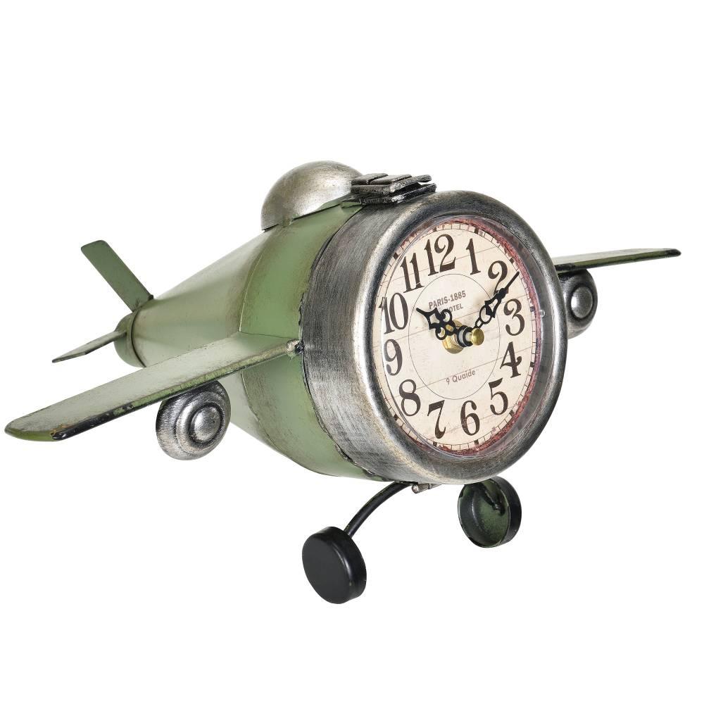 [en.casa]® Nástenné hodiny v tvare lietadla - analógové - 36 x 17 x 25 cm - farebné