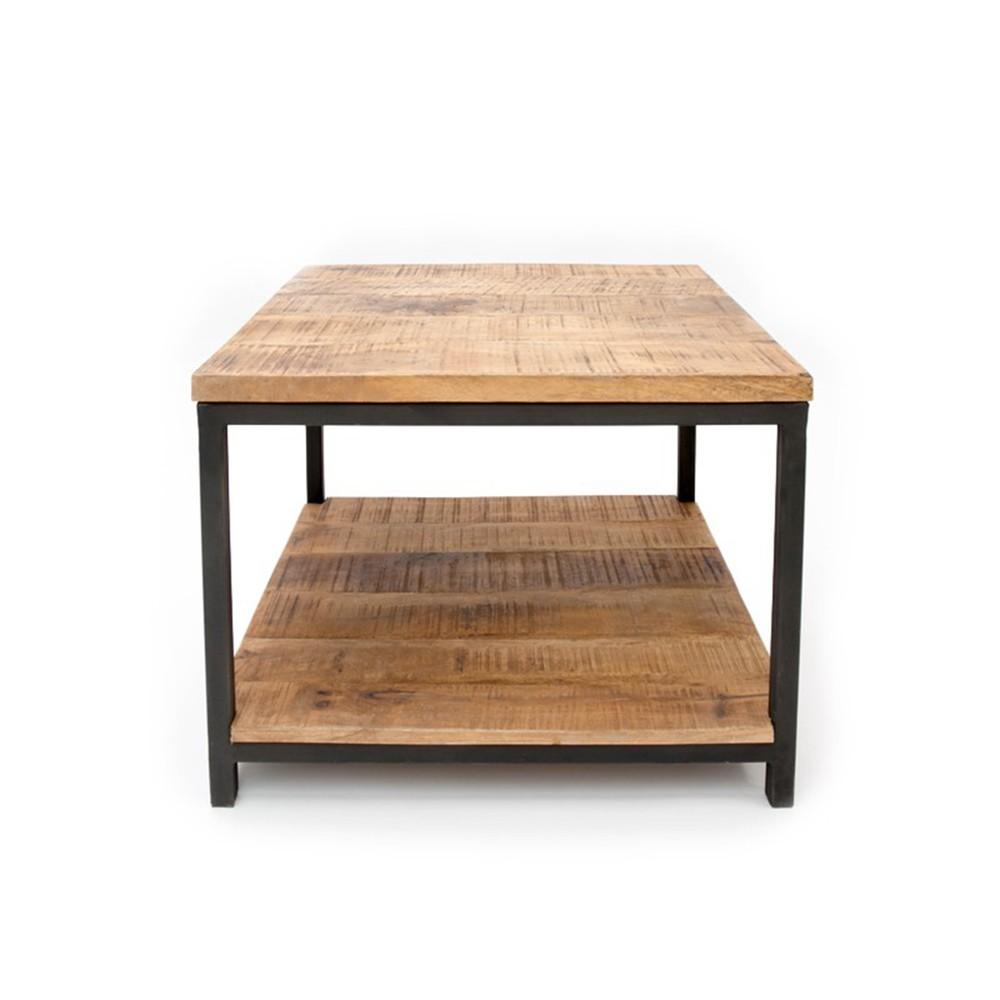 Čierny konferenčný stolík s doskou z mangového dreva LABEL51 Vintage, 80 x 80 cm