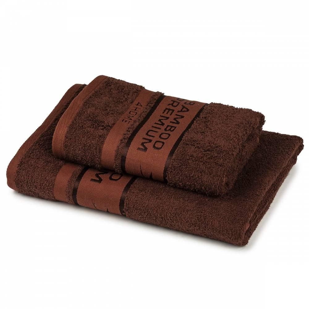 4Home Sada Bamboo Premium osuška a uterák hnedá, 70 x 140 cm, 50 x 100 cm