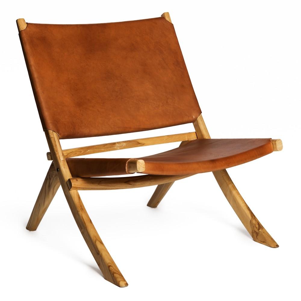 Koňakovohnedá stolička s konštrukciou z teakového dreva a sedadlom z hovädzej kože Simla Fold