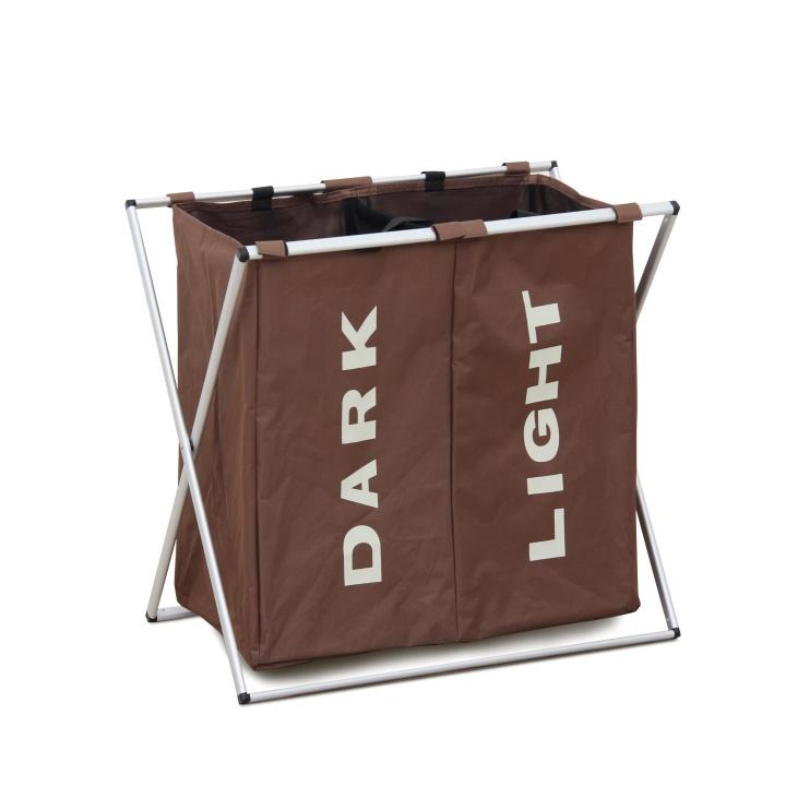 Látkový kôš na prádlo, tmavohnedá, LAUNDRY TYP 2