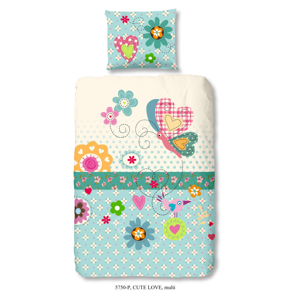 Detské bavlnené obliečky Müller Textiel Cute Love, 140x200cm