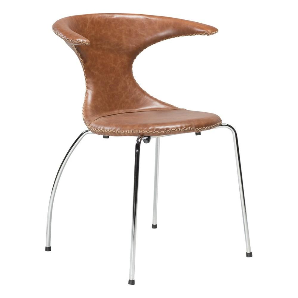 Hnedá kožená jedálenská stolička s pochrómovanou podnožou DAN–FORM Flair