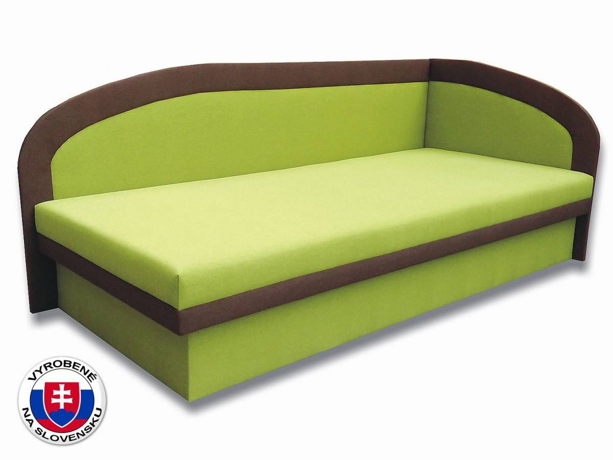 Jednolôžková posteľ (váľanda) 90 cm Melinda (Devon 001 zelená + Devon 009 hnedá) (P)