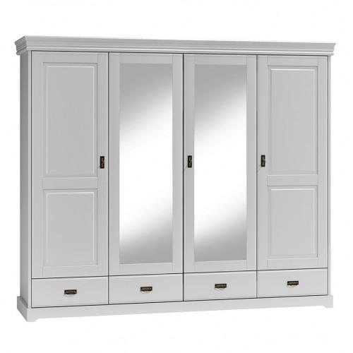 Biely nábytok Šatníková skriňa 4D Toskania so zrkadlom a zásuvkami, biela, masív, borovica, TAHOMA
