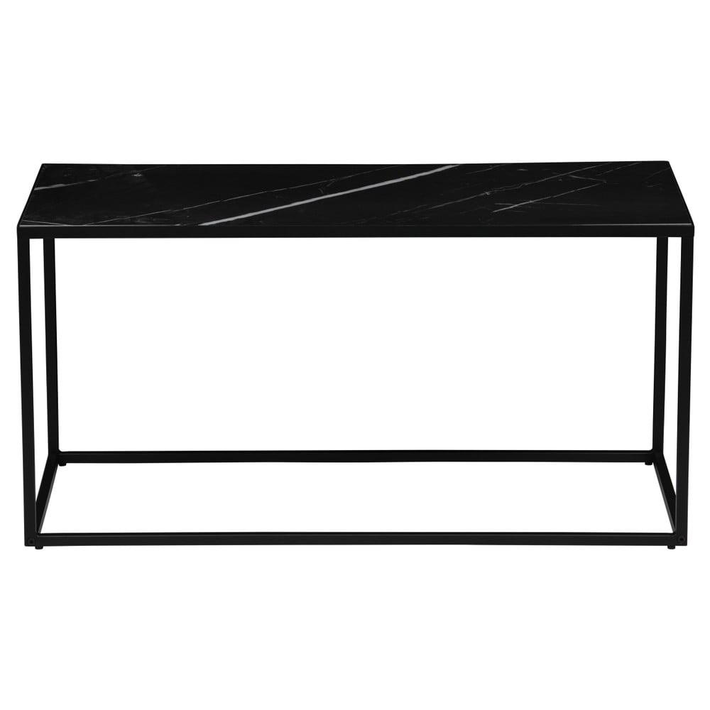 Čierny odkladací stolík s doskou v dekore mramoru vtwonen, 90 x 45 cm