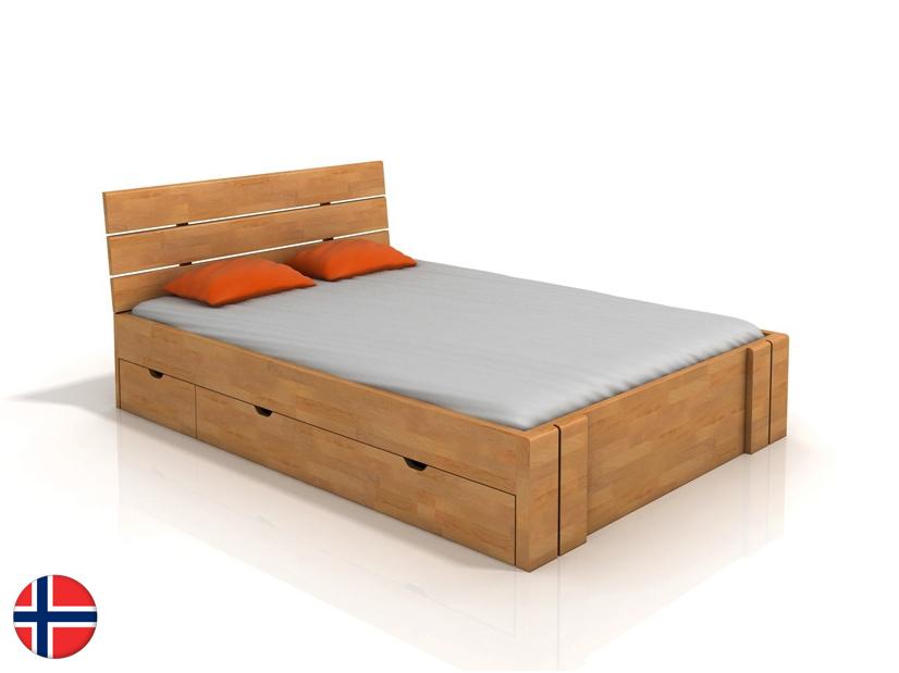 Manželská posteľ 200 cm Naturlig Tosen High Drawers (buk) (s roštom)