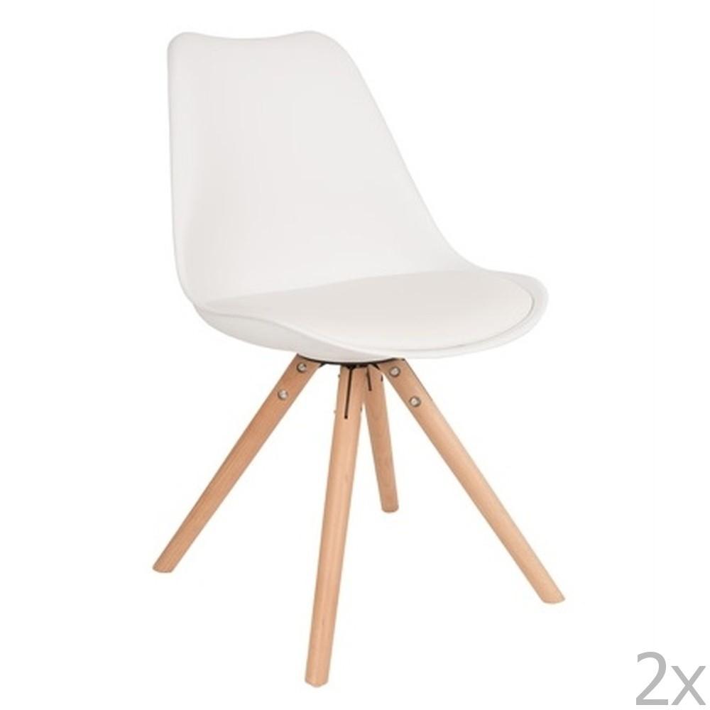 Sada 2 bielych stoličiek s bukovou podnožou White Label Tryck