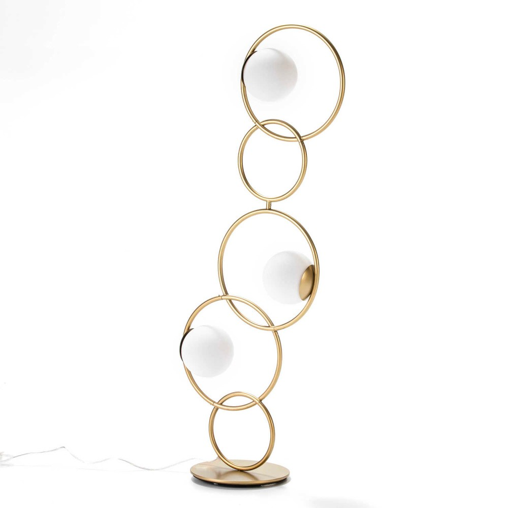 Voľne stojacia lampa z kovu v zlatej farbe Thai Natura Circles, 45×126 cm