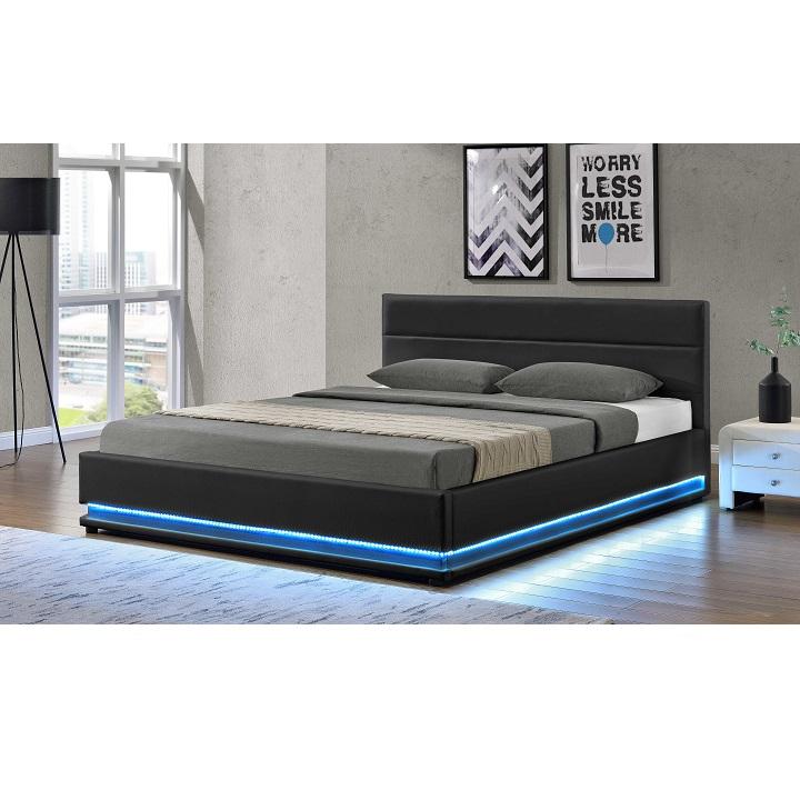 TEMPO KONDELA Manželská posteľ s LED osvetlením, čierna, 180x200, BIRGET