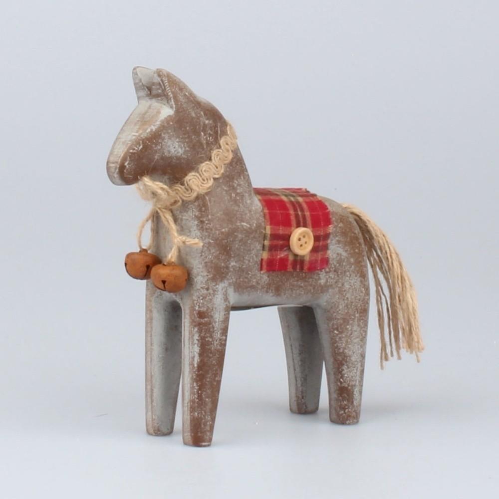 Drevená dekoratívna soška koníka Dakls, výška 16,5 cm