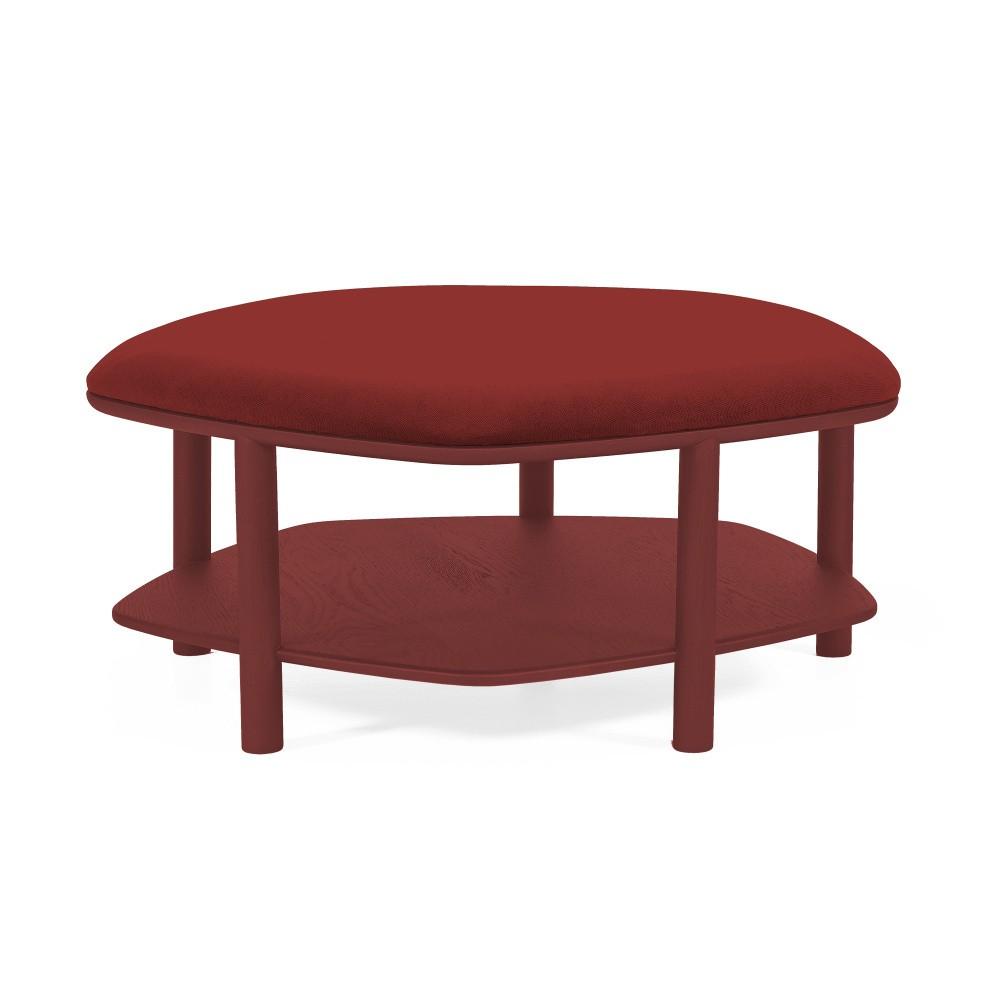 Červený taburet z jaseňového dreva HARTÔ Abel, ⌀84cm