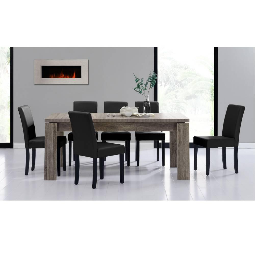 [en.casa]® Rustikálny dubový jedálenský stôl so 6 stoličkami - sivý stôl - čierne stoličky