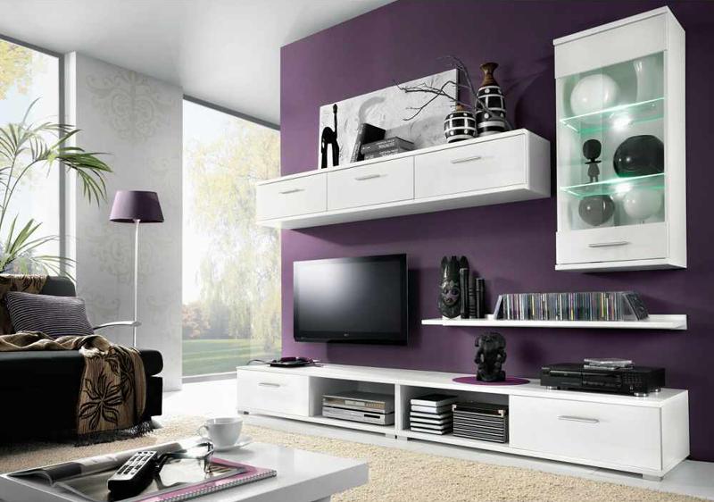Variabilná obývacia stena  MULIBU biela/biely lesk