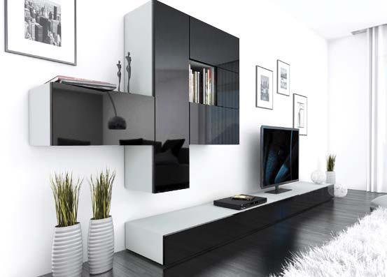 Moderná obývacia stena BRILIANT III, black