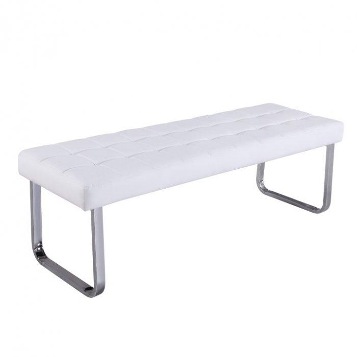 TEMPO KONDELA BRAND lavica - biela / chróm
