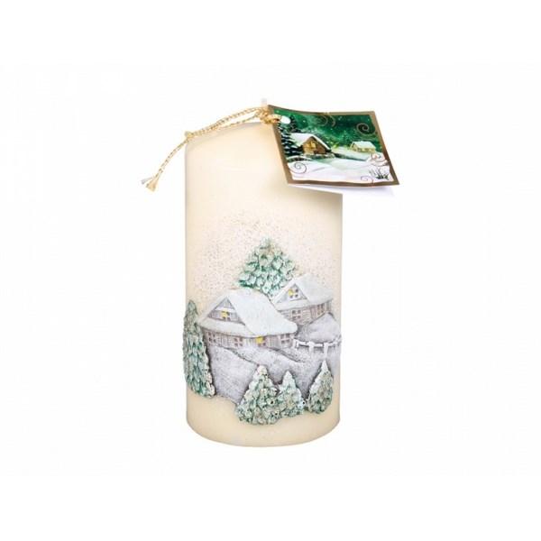 Vianočná sviečka Chalúpka, béžová