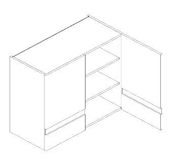 WS80 horná dvojdverová vitrína MYA, picard/biely lesk