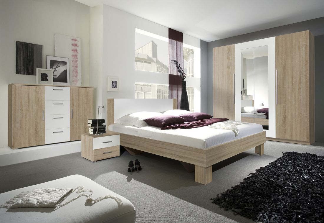 ERA - Ložnicová zostava - skriňa (20), posteľ 160 + 2x nočný stolík (51), komoda (26), dub sonoma/biely