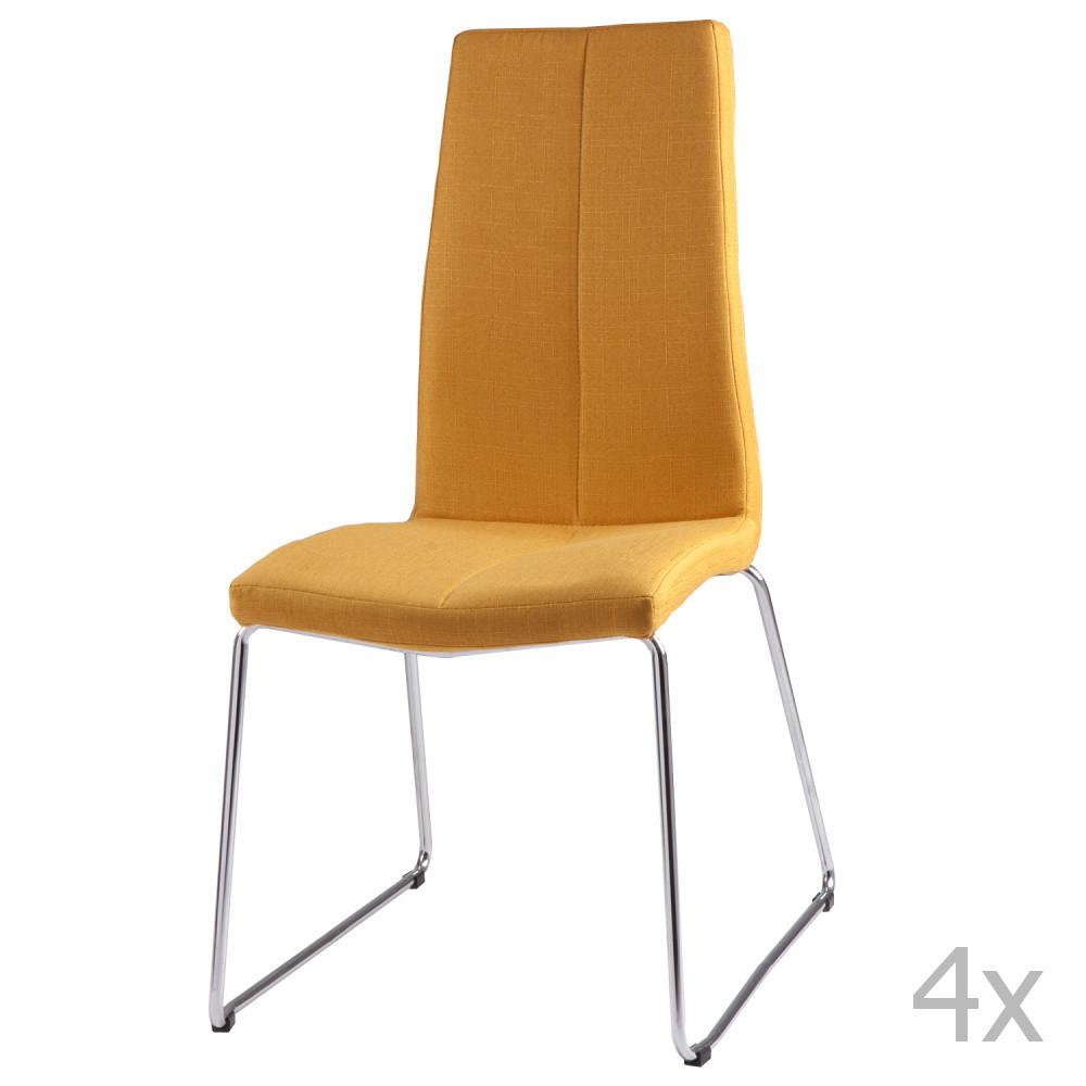 Sada 4 žltých jedálenských stoličiek sømcasa Aora