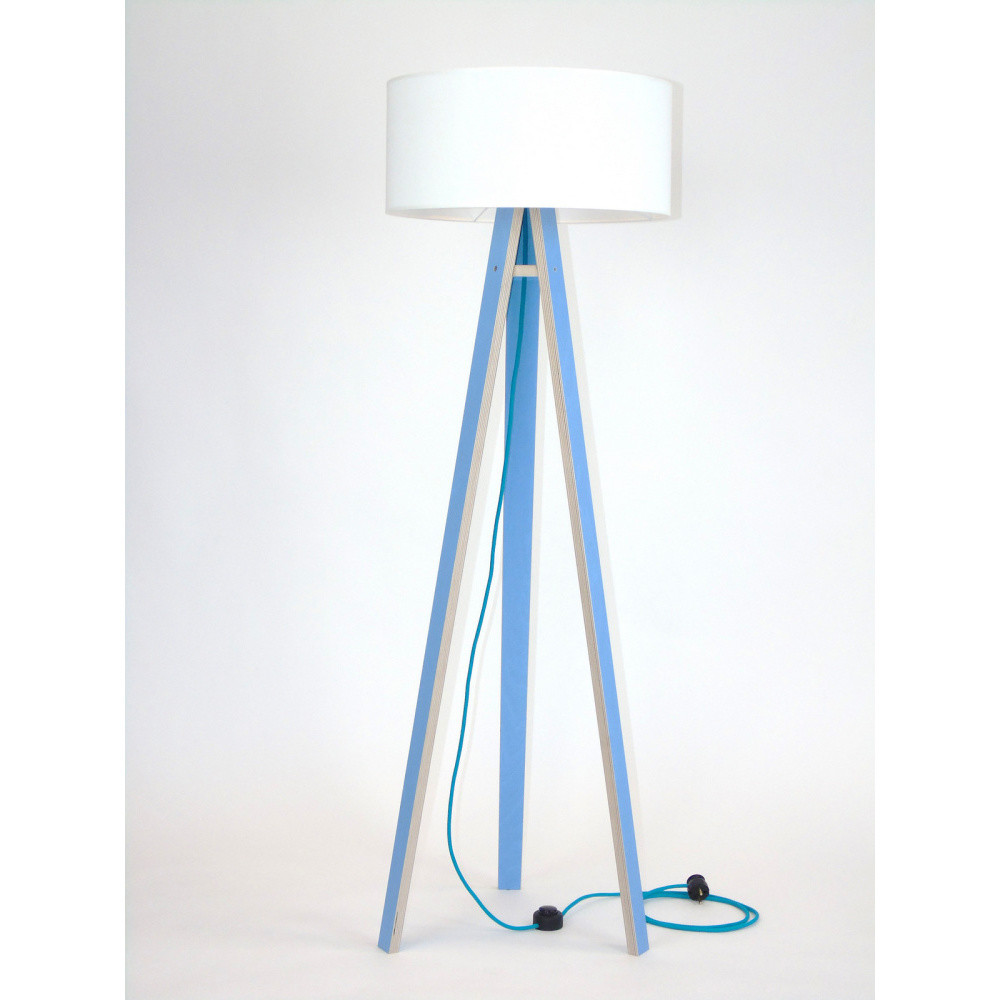 Modrá stojacia lampa s bielym tienidloma tyrkysovým káblom Ragaba Wanda