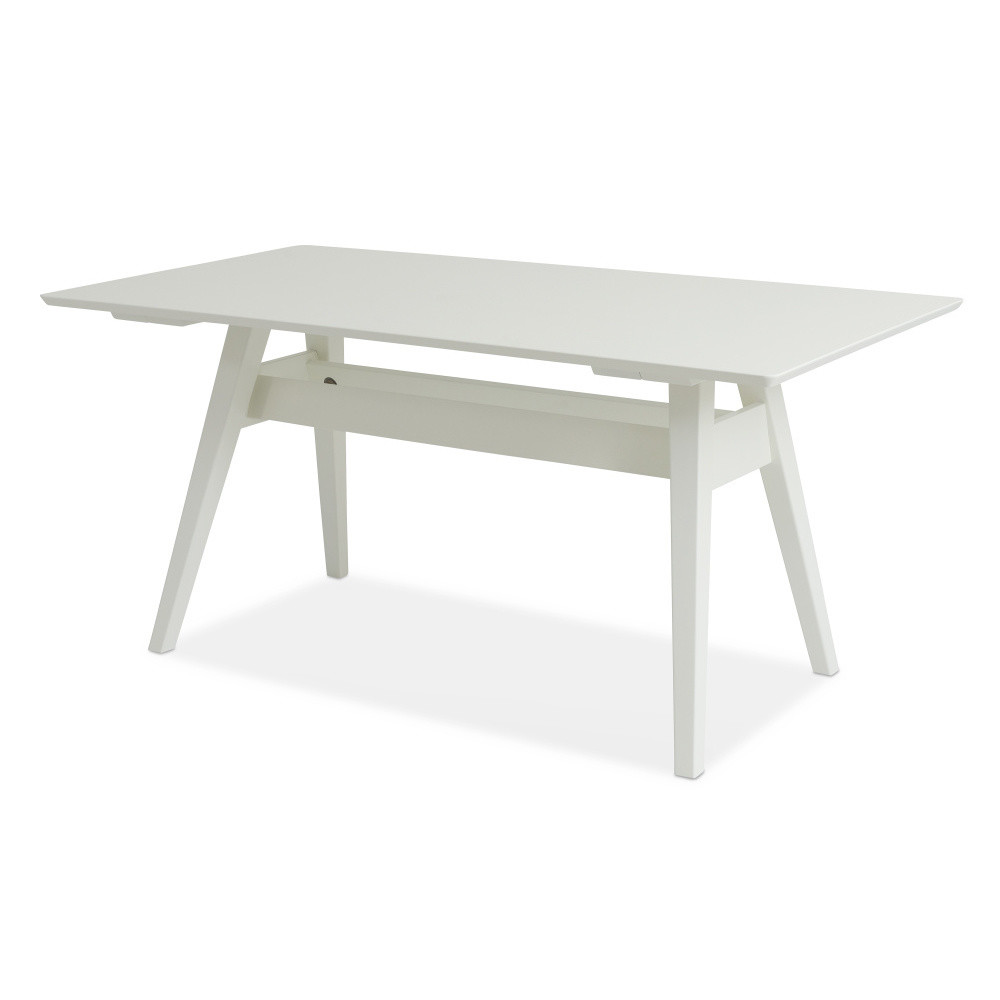 Biely ručne vyrobený jedálenský stôl z masívneho brezového dreva KiteenNotte, 75 x 140 cm