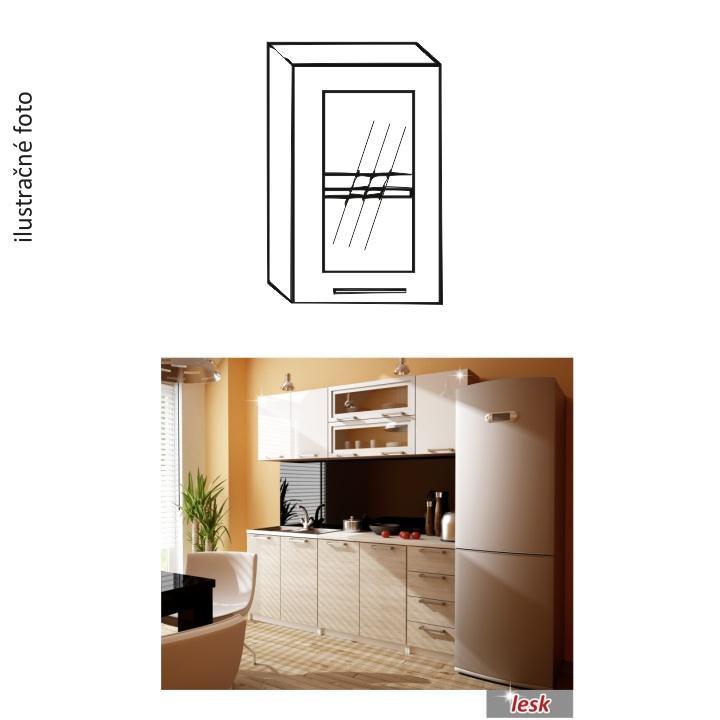 TEMPO KONDELA Kuchynská skrinka, ľavá, strieborné orámovanie/sklo, ITA GW-40
