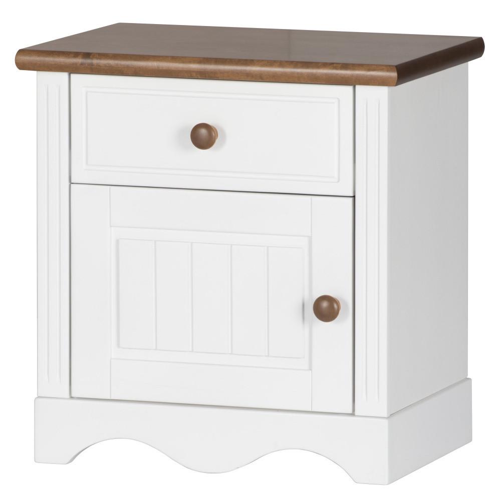 Biely nočný stolík s detailmi v brezovom dekore Szynaka-Meble Princessa