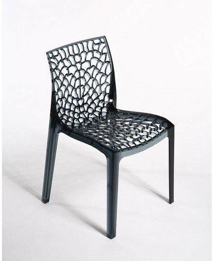 GRUVYE transparentná stolička, antracit