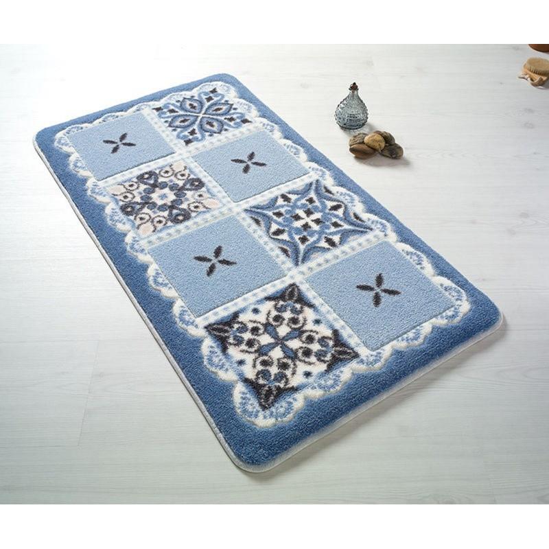 Modrá predložka do kúpeľne Confetti Bathmats Ceramic, 80x140cm
