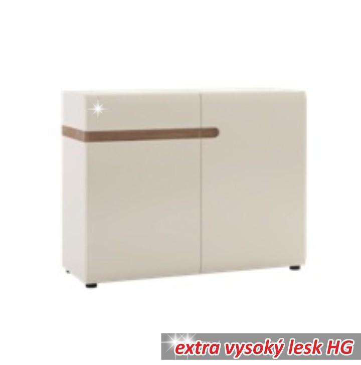 TEMPO KONDELA Komoda, 2 dverová, biela extra vysoký lesk HG/dub sonoma tmyvý truflový, LYNATET TYP 35