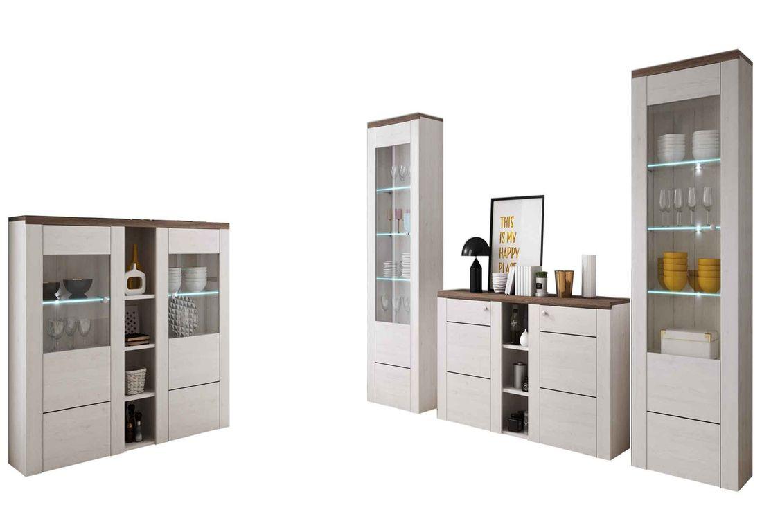 Obývacia zostava+LED NAROLA I - barová komoda, vitrína, vitrína, komoda, sosna biela / sosna biela - sonoma truffel