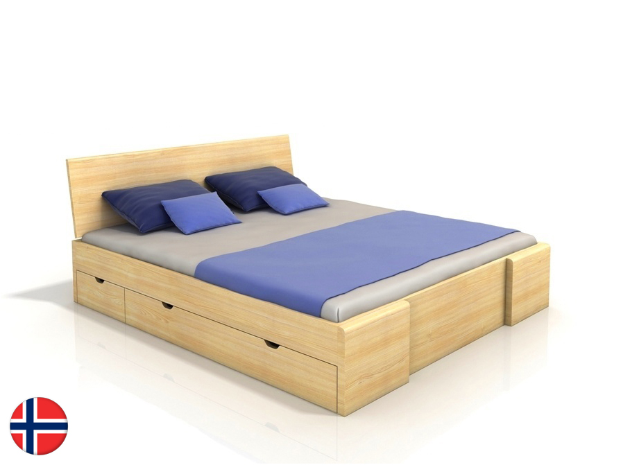 Manželská posteľ 180 cm Naturlig Blomst High Drawers (borovica) (s roštom)