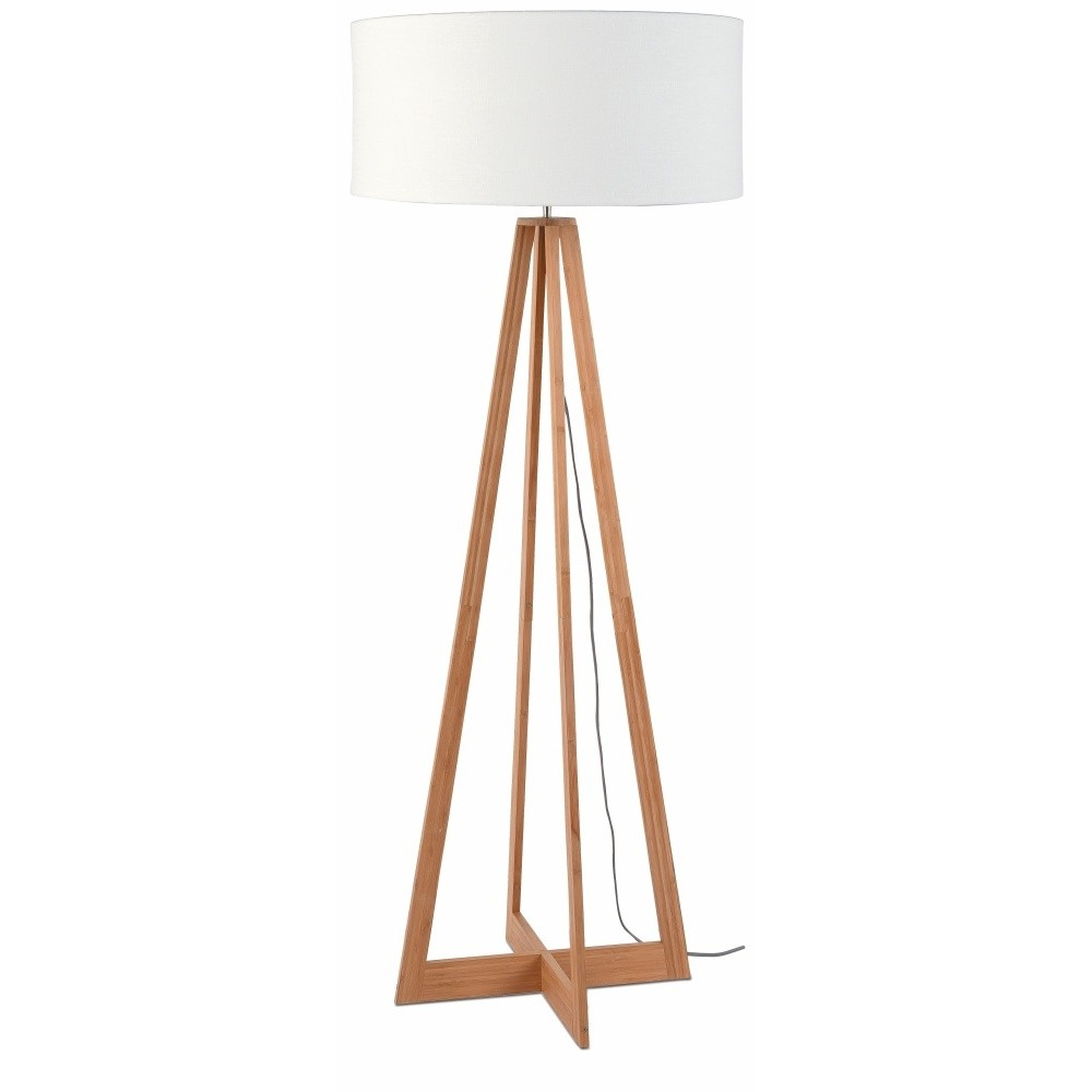 Stojacia lampa s bielym tienidlom a konštrukciou z bambusu Good&Mojo Everest