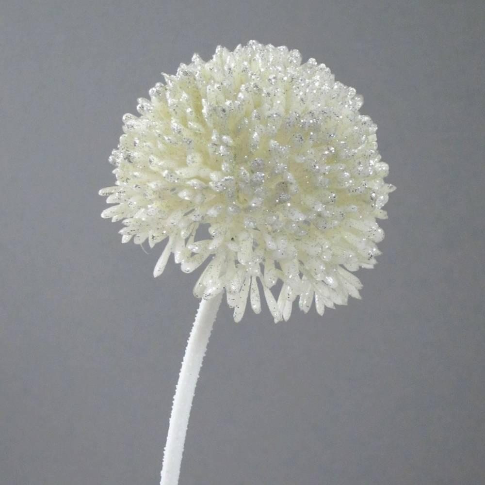 Umelá kvetina Cesnak krémová s glitrom