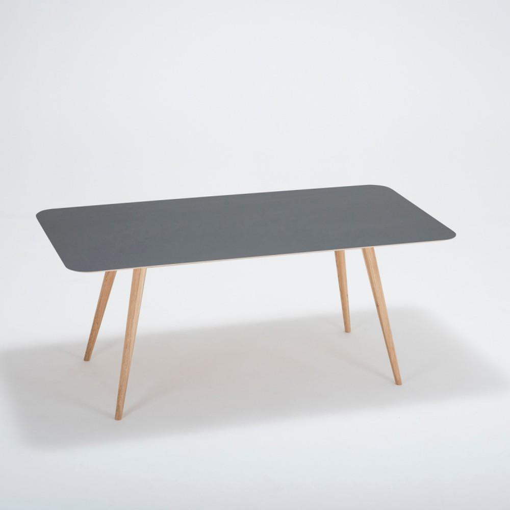 Jedálenský stôl z masívneho dubového dreva s čiernou doskou Gazzda Linn, 180×90cm