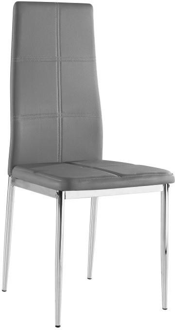 Stolička, ekokoža sivá/chróm, LERA